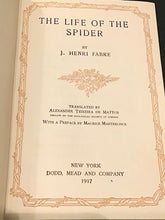 "Load image into Gallery viewer, Antique Book ""The Life of the Spider"" by J.H. Fabre 1917"