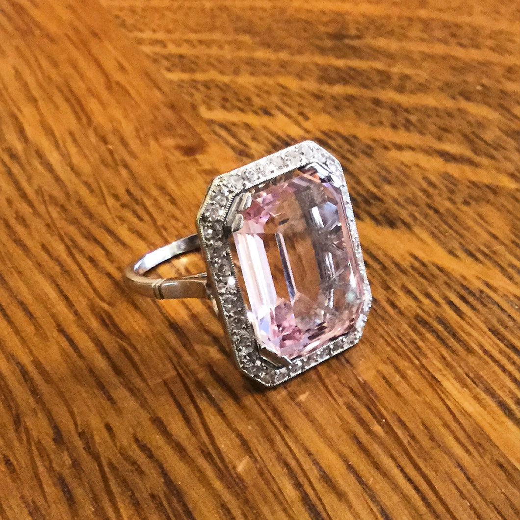 Stunning Art Deco Period Pink Morganite & Diamonds Ring Set in Platinum