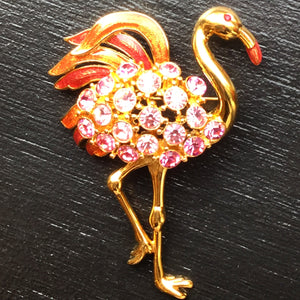 Large Pink Trifari Flamingo Pin Brooch