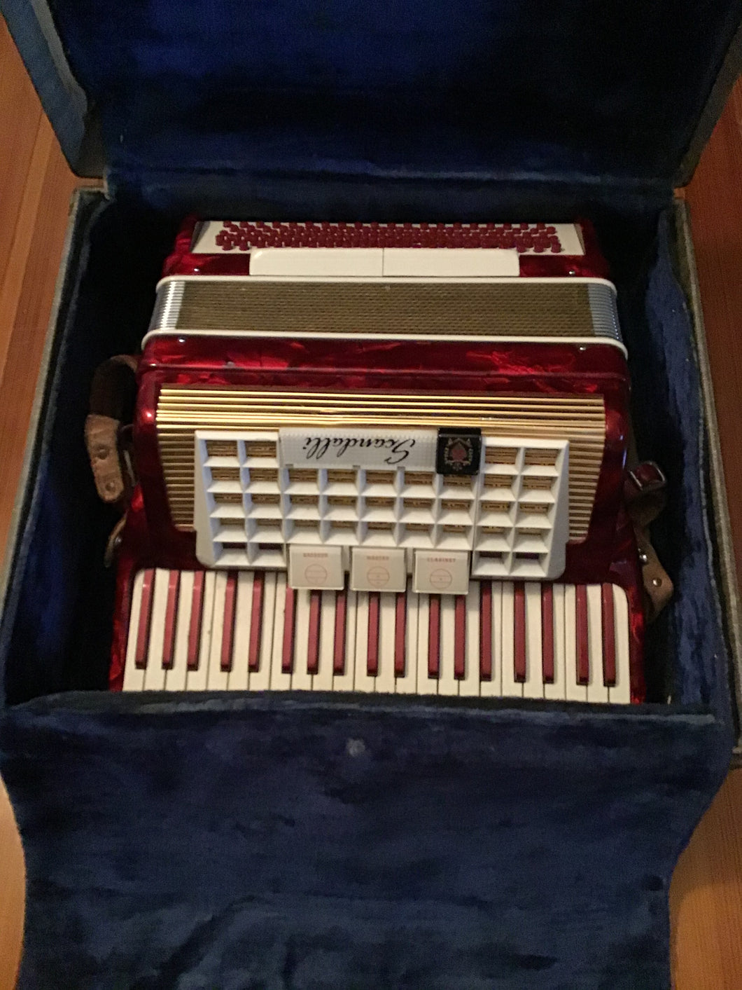 Scandalli of Italy Red Pearlized Accordion in Case