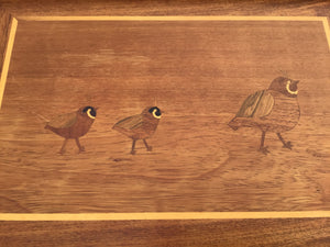 Pair of Teak Marquetry TV Tray Tables on Stands with Bird Motifs