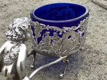 Load image into Gallery viewer, Antique German 800 Silver Figural Cart Salt Cellar with Cobalt Glass Liner