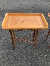 Load image into Gallery viewer, Pair of Teak Marquetry TV Tray Tables on Stands with Bird Motifs