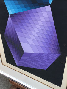 Victor Vasarely Op Art Twisted Cubes Serigraph Signed & Numbered ~Denise Rene Edition~