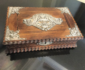 Antique Indo-Portuguese Mounted Silver Jewelry Box