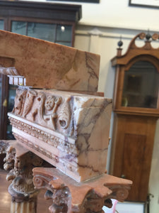 Pair of Antique World Tour Roman Architectural Sculptures in Sienna marble and Alabaster