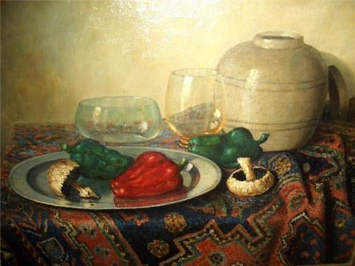 STILL LIFE OIL ON CANVAS SIGNED BEREND WOLTER WEYERS DUTCH LISTED ARTIST