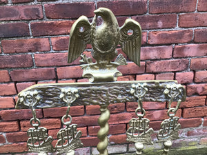 Antique Brass Nautical Fireplace Tool Set Attributed To Oscar Bach