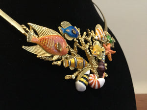 Enamel Over 18k Gold Sea Life Necklace by Kabana