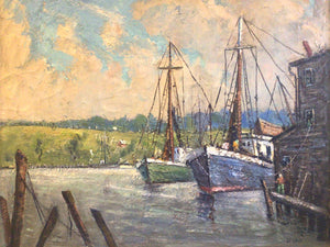 Pasquale D'Orsi Oil on Canvas of Harbor & Boat Scene ~Listed Artist Massachusetts~