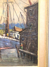 Load image into Gallery viewer, Pasquale D'Orsi Oil on Canvas of Harbor & Boat Scene ~Listed Artist Massachusetts~