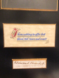 Winston Churchill Framed Picture, Quote & Autograph by Hamilton Autographs Inc. NY