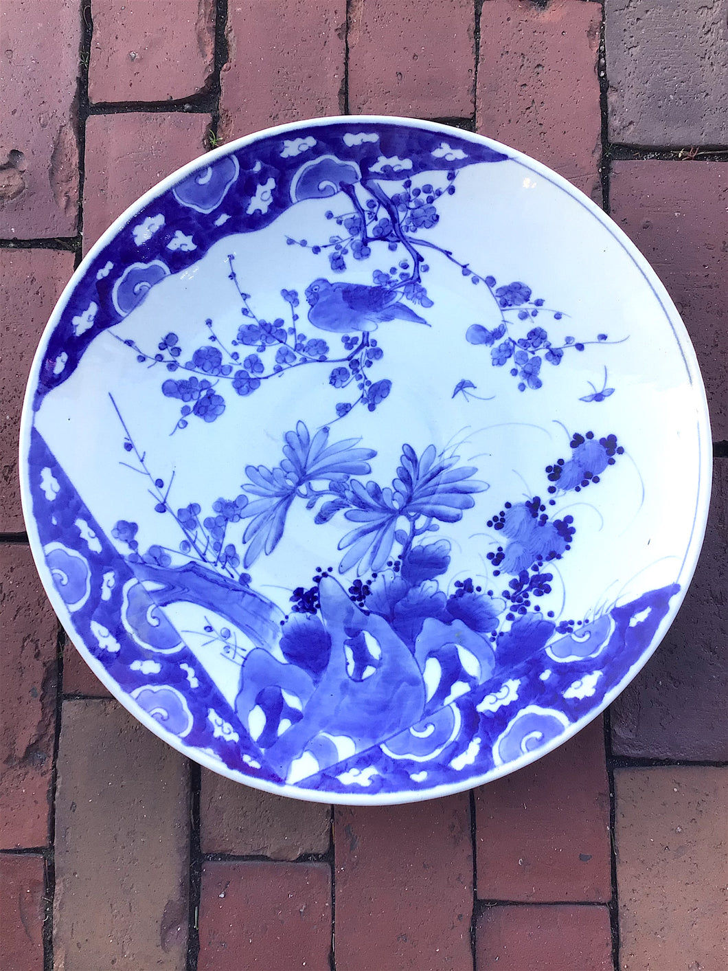 Large Antique Asian Blue & White Charger Plate ~16
