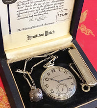 Load image into Gallery viewer, Antique 14k Gold Hamilton Pocket watch w/ Masonic Orb & Pocket Knife