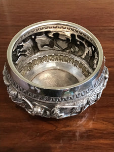 Antique Indian Lucknow Silver Hunting Bowl Circa 1890's