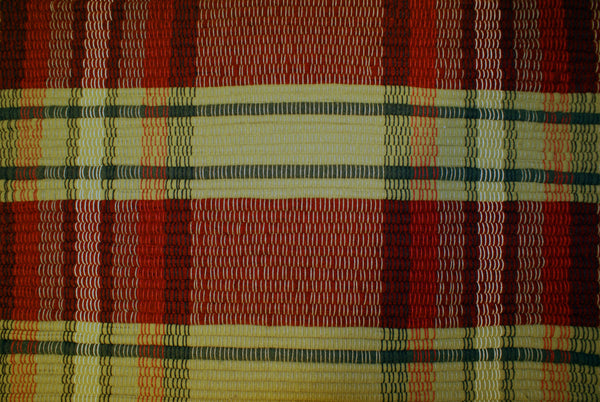 Red Plaid Wool Rug