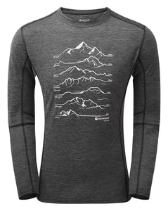 PRIMINO 140 SUMMITS LONG SLEEVE T-SHIRT Black