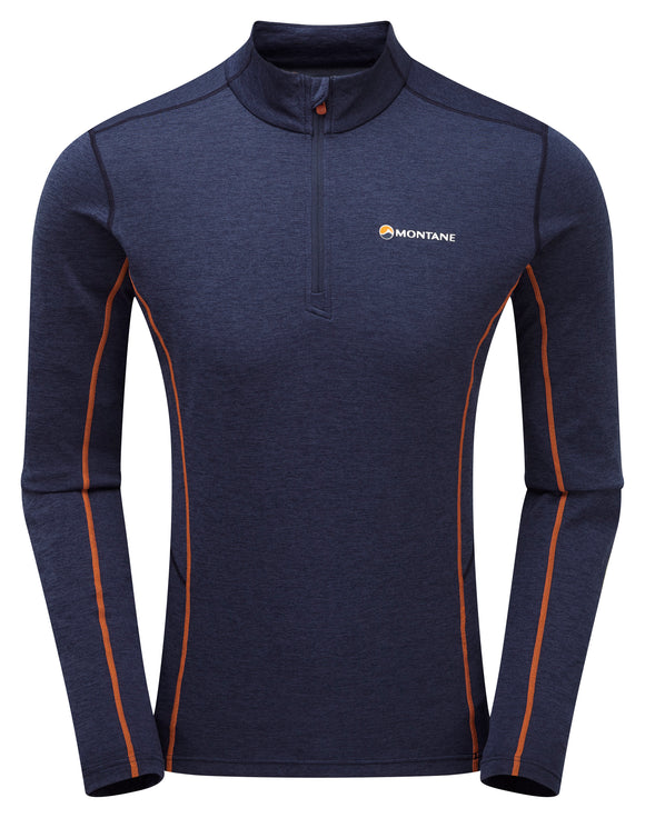 Dart Long Sleeve t-shirt with Zip neck Antarctic Blue