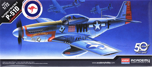 Academy 12485 - P-51D Mustang Fighter, AUS Decals, 1:72 Scale