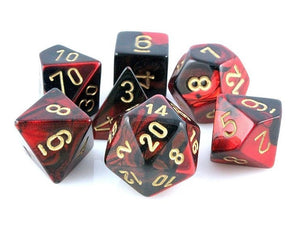 Chessex CHX26433 RPG Dice Set Gemini Black Red with Gold 7 pc