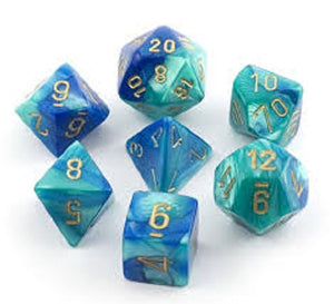 Chessex CHX26459 RPG Dice Set Gemini Blue Teal with Gold 7 pc