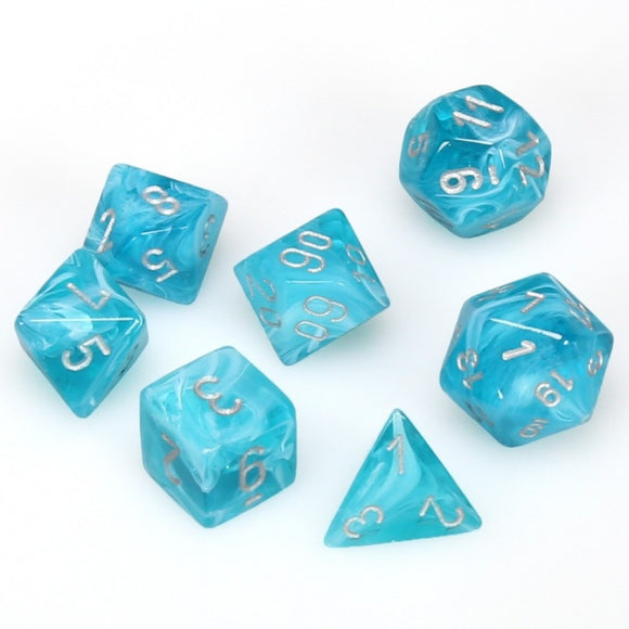 Chessex CHX27465 RPG Dice Set Cirrus Aqua Silver 7 pc