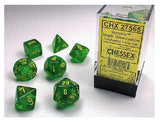 Chessex CHX27565 RPG Dice Set Borealis Maple Green Yellow 7 pc