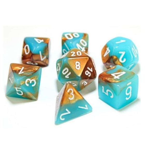 Chessex CHX30019 RPG Dice Set Gemini Copper Turquoise with White 7 pc