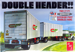 AMT1132 - Double Header, Two Complete 27 foot Trailer Vans, 1:25 Scale FREE Postage