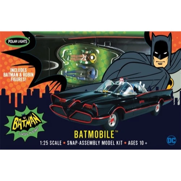 POL965 Polar Lights - 1966 Batmobile with painted Batman & Robin 1:25 scale