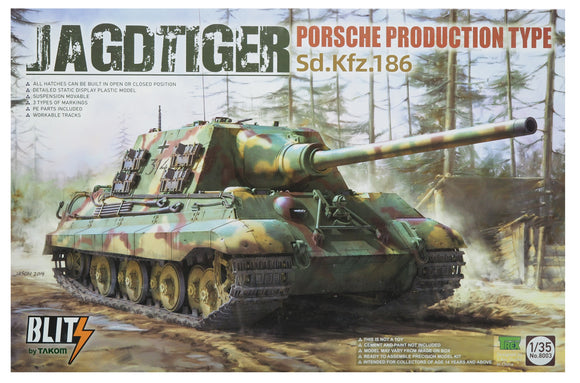 Takom TK8003, Jagdtiger Sd.Kfz.186 Porsche Production Type, Scale 1:35