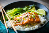 Miso Salmon with Bok Choy and Jasmine Rice