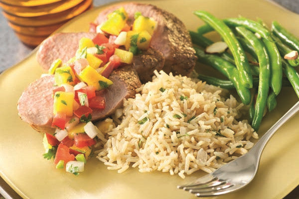 Pineapple Glazed Pork Tenderloin w/ Rice and Salsa
