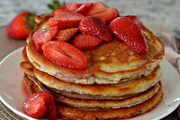 Strawberry Glazed Paleo Pancakes w/ Fresh Fruit