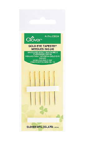 Clover Gold Eye Tapestry Needles, size 24 (for cross-stitch)