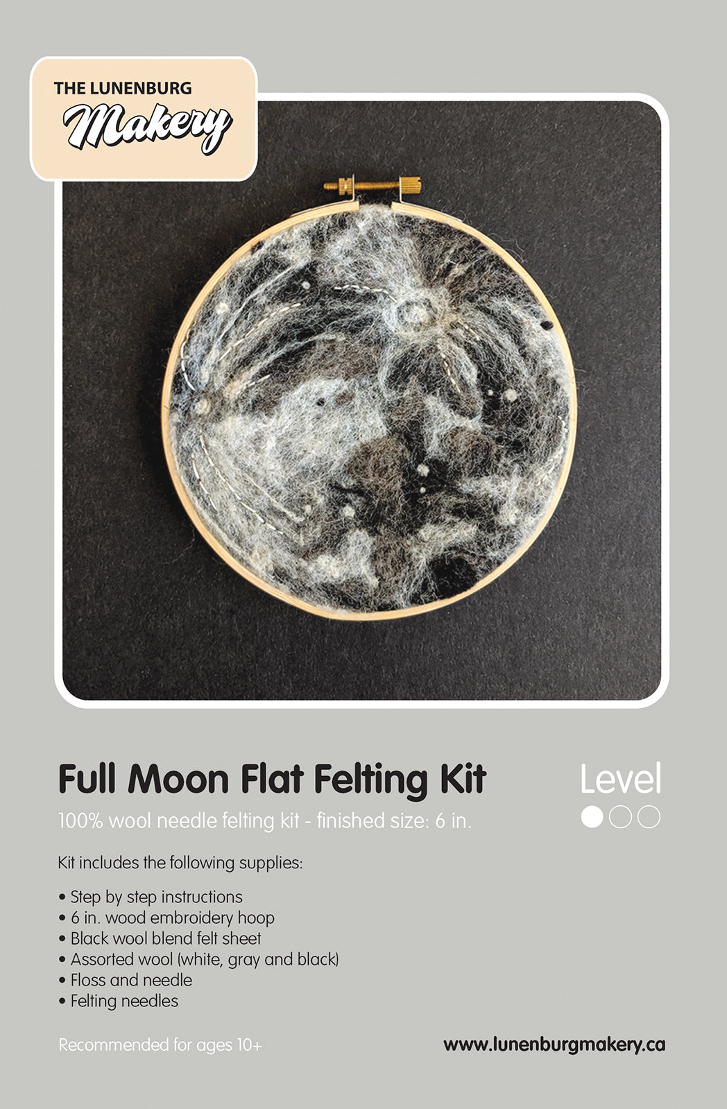 Lunenburg Makery Full Moon Needle Felting Kit