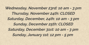 Upcoming Holiday Hours Fall/Winter 2016!