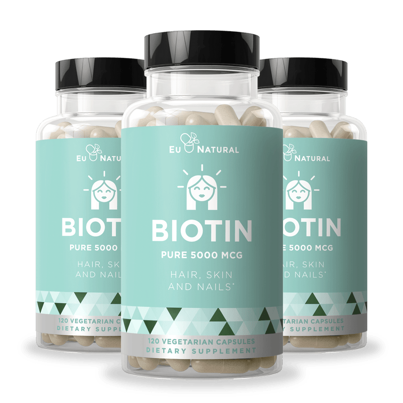 Eu Natural BIOTIN 5000 MCG Hair, Skin, Nails (3 Pack)