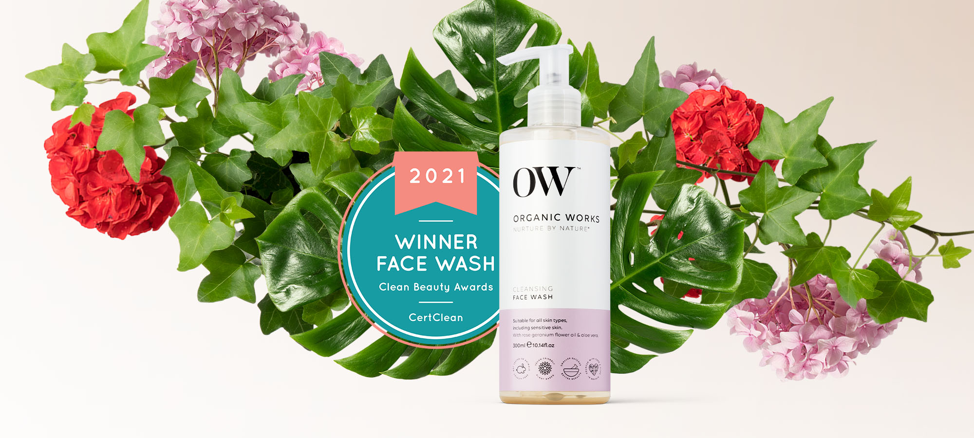 CertClean international clean beauty award winning OW Cleansing Face Wash on a floral background