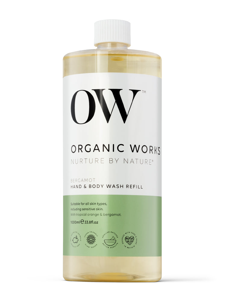 OW 1 Litre Refill of Bergamot Hand and Body Wash on a white background