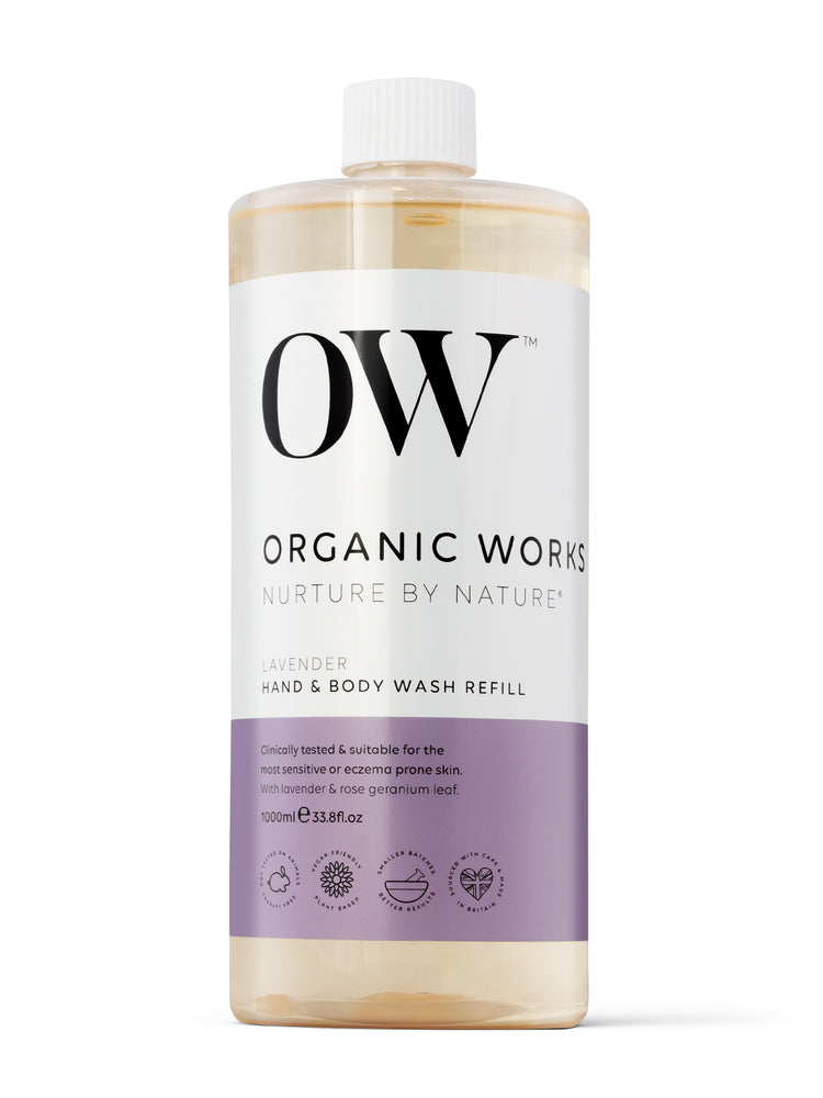 OW 1 Litre Refill of Lavender Hand and Body Wash on a white background