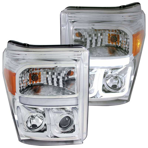ANZO CHROME U-BAR STYLE PROJECTOR HEADLIGHTS - 6.7L (2011-2016)
