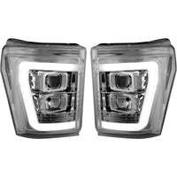 RECON 264272BKC CLEAR OR SMOKED PROJECTOR HEADLIGHTS WITH OLED U-BAR - 6.7L (2011-2016)