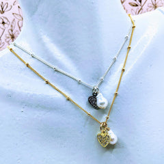 Satelite chain with heart and pearl