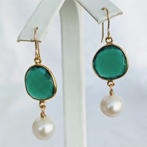 Faceted Green Onyx and Pearl earrings