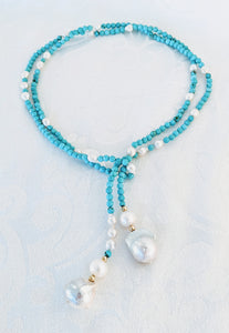 Turquoise and pearl lariat necklace