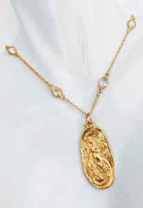 Gold Vermeil and cubic zirconia chain necklace with oval gold plate mermaid charm