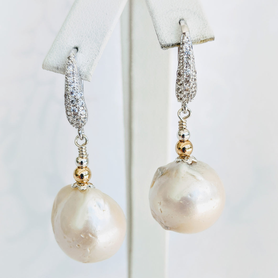 Baroque freshwater pearl earrings w/silver cubic zirconia earwire