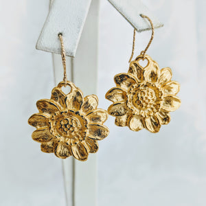 Gold plate Britannium sunflower earrings