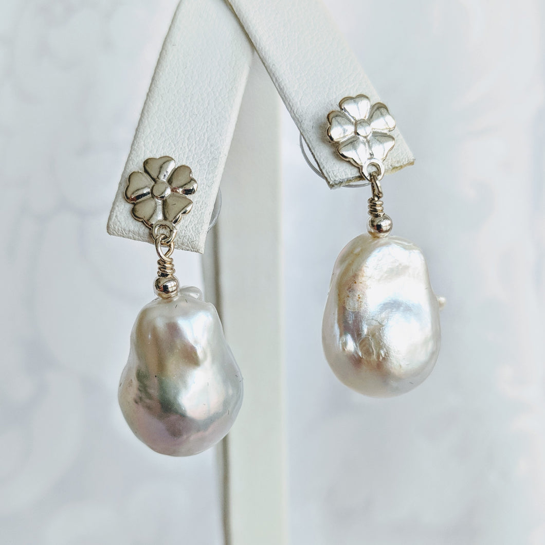 Baroque freshwater pearl earrings with silver floral posts